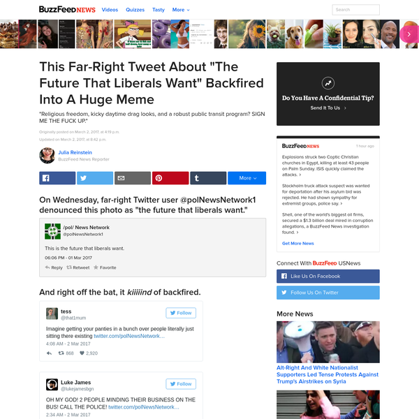 """1. On Wednesday, far-right Twitter user @polNewsNetwork1 denounced this photo as """"the future that liberals want."""" 2. And right off the bat, it kiiiiind of backfired. 5. In fact, people were like, """"Yeah, actually. That's exactly what we want. Bingo."""""""
