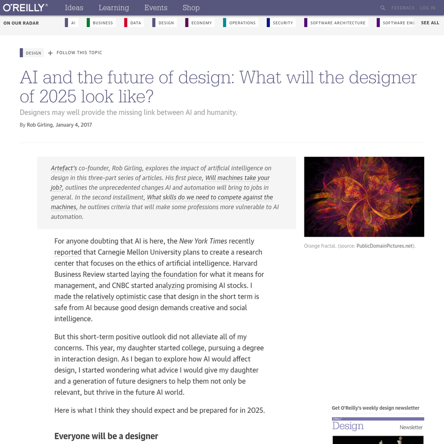 Artefact's co-founder, Rob Girling, explores the impact of artificial intelligence on design in this three-part series of articles. His first piece, Will machines take your job? , outlines the unprecedented changes AI and automation will bring to jobs in general.