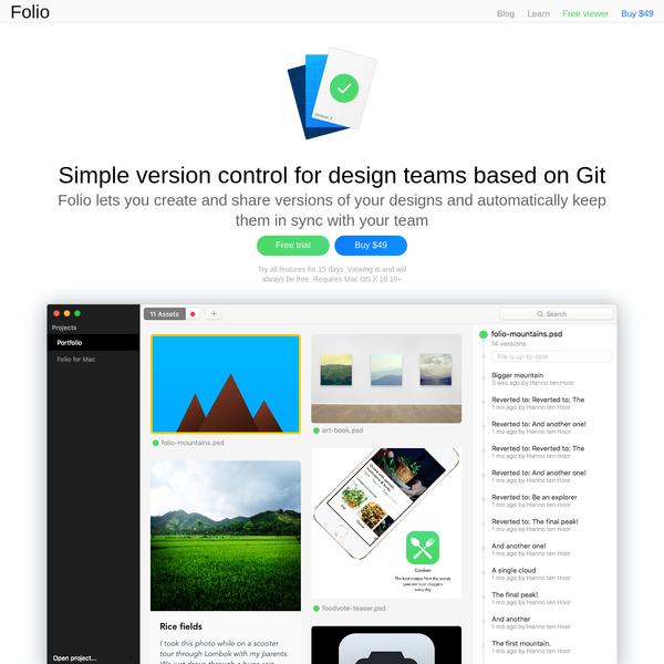 Folio - Simple visual version control tool for Mac based on Git