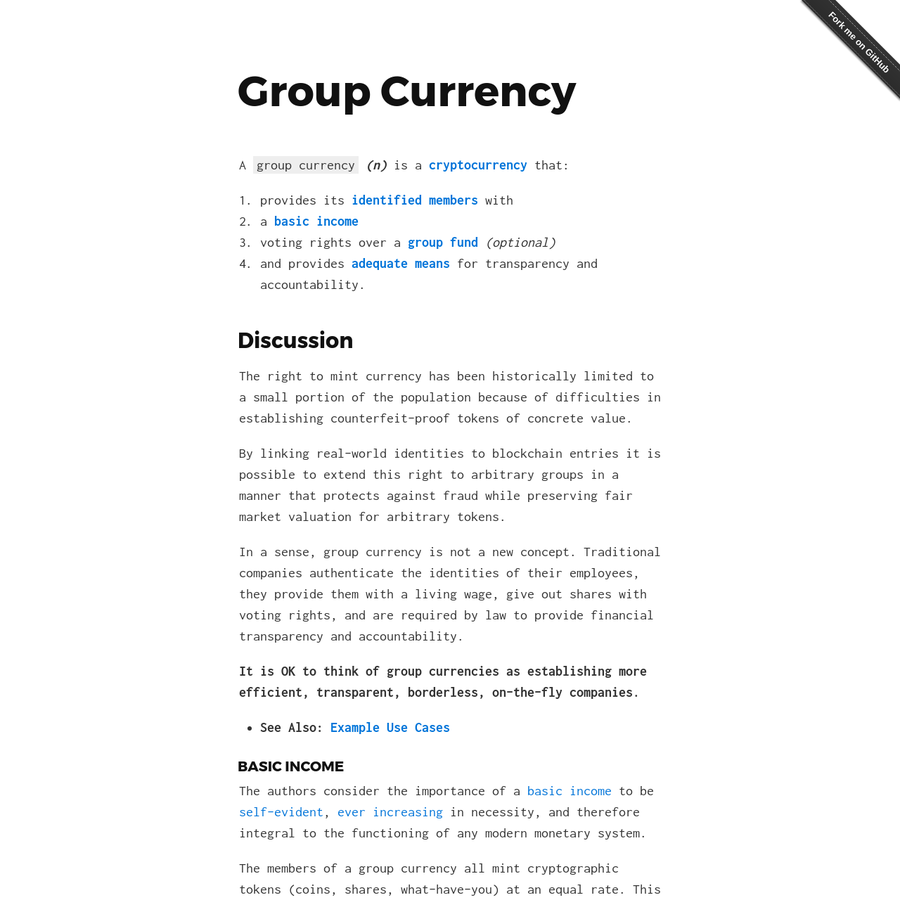 Group Currency = Cryptocurrency + Basic Income