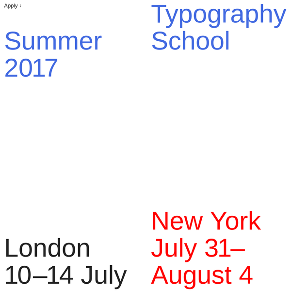 Typography Summer School is a meeting place for graduates of graphic design, wanting to bridge the gap between student and professional and learn more about typography.