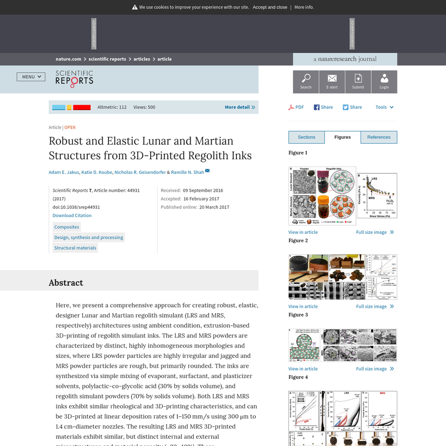 Altmetric: 112 Views: 500 More detail Article   Open Scientific Reports 7, Article number: 44931 (2017) doi:10.1038/srep44931 Download Citation Received: Accepted: Published online: Here, we present a comprehensive approach for creating robust, elastic, designer Lunar and Martian regolith simulant (LRS and MRS, respectively) architectures using ambient condition, extrusion-based 3D-printing of regolith simulant inks.
