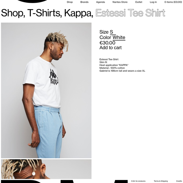 "Estessi Tee Shirt - Slim fit - Heat application ""KAPPA"" - Material : 100% cotton - Corentin is 179cm tall and wears a size L"