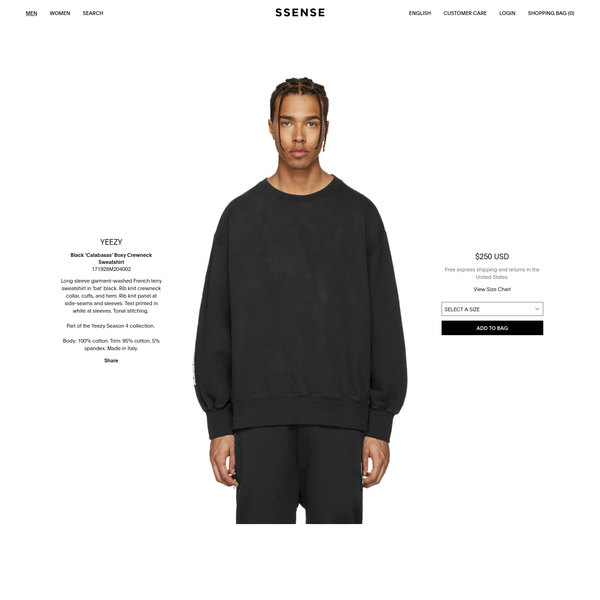 Long sleeve garment-washed French terry sweatshirt in 'bat' black. Rib knit crewneck collar, cuffs, and hem. Rib knit panel at side-seams and sleeves. Text printed in white at sleeves. Tonal stitching. Part of the Yeezy Season 4 collection.