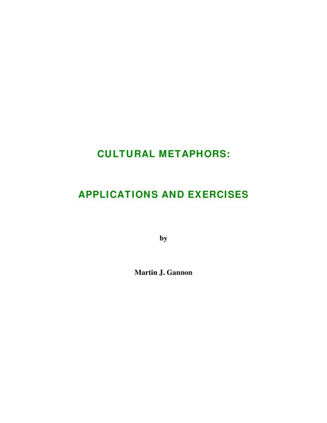 Cultural Metaphors: applications and exercises, Martin J. Gannon