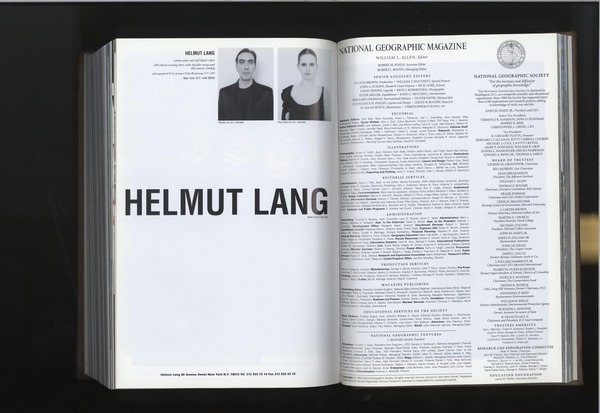Helmut Lang in National Geographic