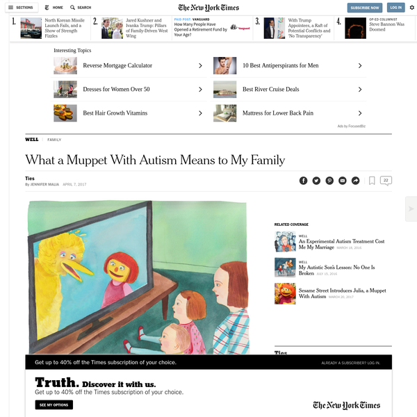 """Julia gives me hope that my children and their peers will grow up in a world where autism is normalized, rather than stigmatized. Preschoolers are the primary audience for """"Sesame Street,"""" an educational television program where young children watching Julia's interactions with her peers can learn by example to support autism acceptance."""