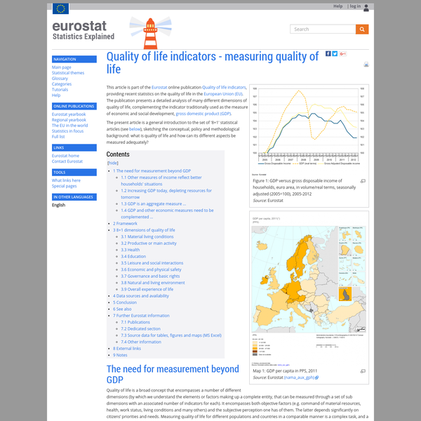This article is part of the Eurostat online publication Quality of life indicators, providing recent statistics on the quality of life in the European Union (EU). The publication presents a detailed analysis of many different dimensions of quality of life, complementing the indicator traditionally used as the measure of economic and social development, gross domestic product (GDP).