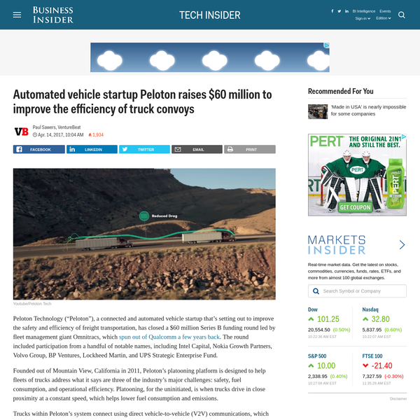 "Peloton Technology (""Peloton""), a connected and automated vehicle startup that's setting out to improve the safety and efficiency of freight transportation, has closed a $60 million Series B funding round led by fleet management giant Omnitracs, which spun out of Qualcomm a few years back."