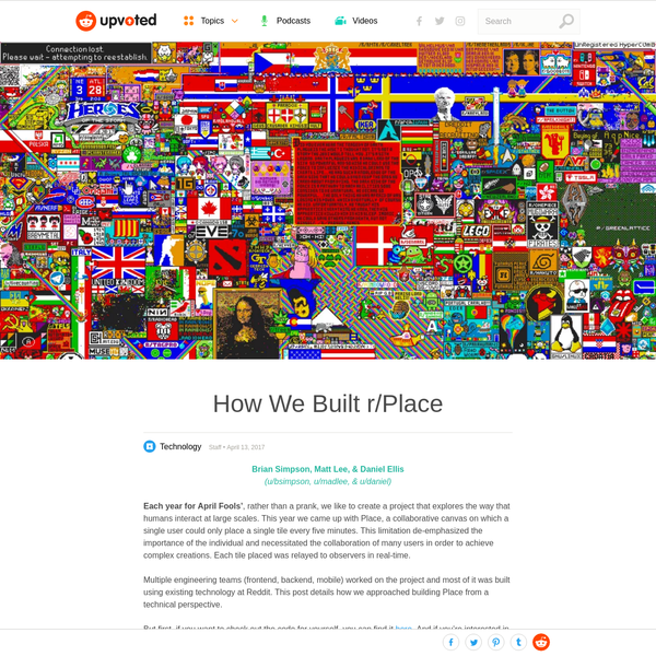 Each year for April Fools', rather than a prank, we like to create a project that explores the way that humans interact at large scales. This year we came up with Place, a collaborative canvas on which a single user could only place a single tile every five minutes.