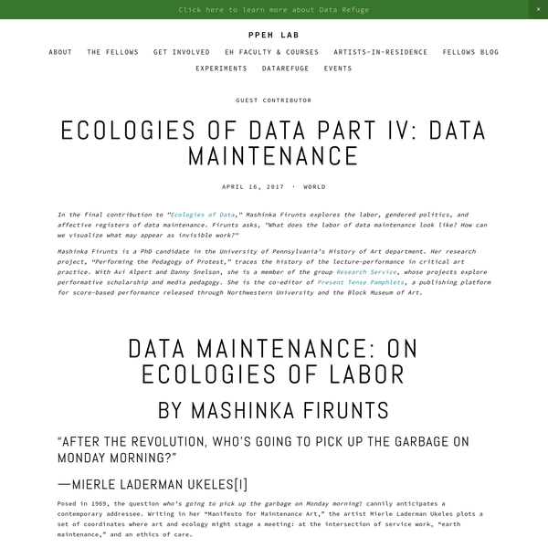 "In the final contribution to ""Ecologies of Data,"" Mashinka Firunts explores the labor, gendered politics, and affective registers of data maintenance. Firunts asks, ""What does the labor of data maintenance look like? How can we visualize what may appear as invisible work?"""