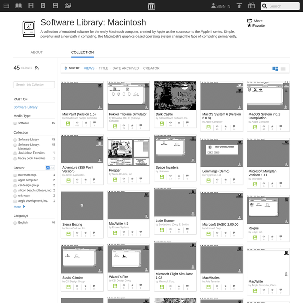 Software Library: Macintosh : Free Softwarelibrary : Download & Streaming : Internet Archive