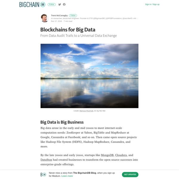 Blockchains for Big Data - The BigchainDB Blog