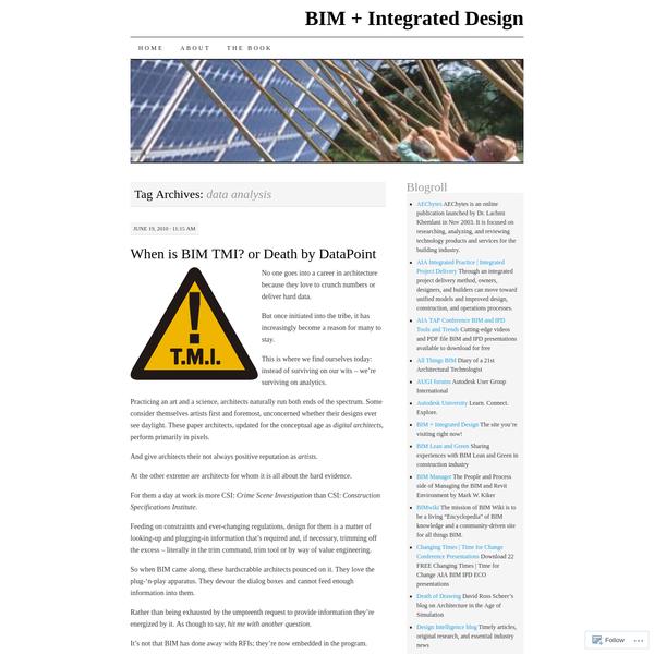 Posts about data analysis on BIM + Integrated Design
