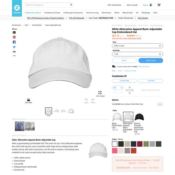 White Alternative Apparel Basic Adjustable Cap Embroidered Hat