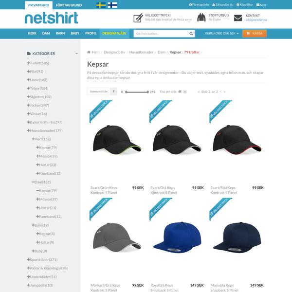 Designa Kepsar Själv | Dam | Skapa och köp kläder med eget tryck! | Netshirt.se