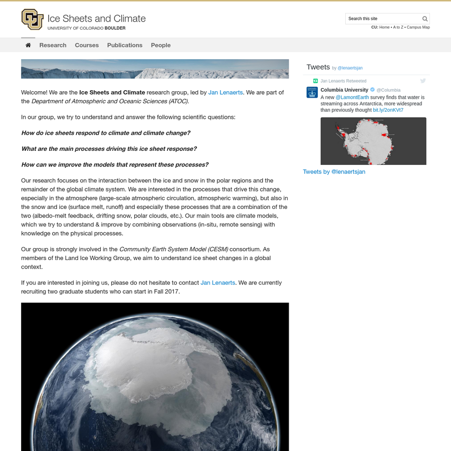 Our research focuses on the interaction between the ice and snow in the polar regions and the remainder of the global climate system. We are interested in the processes that drive this change, especially in the atmosphere (large-scale atmospheric circulation, atmospheric warming), but also in the snow and ice (surface melt, runoff) and especially these processes that are a combination of the two (albedo-melt feedback, drifting snow, polar clouds, etc.).