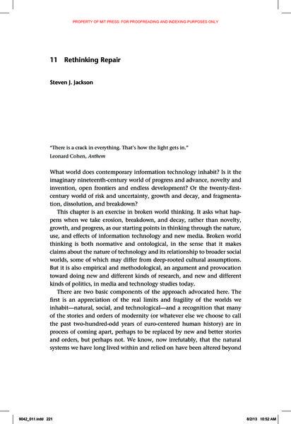 Steven J. Jackson, Rethinking Repair
