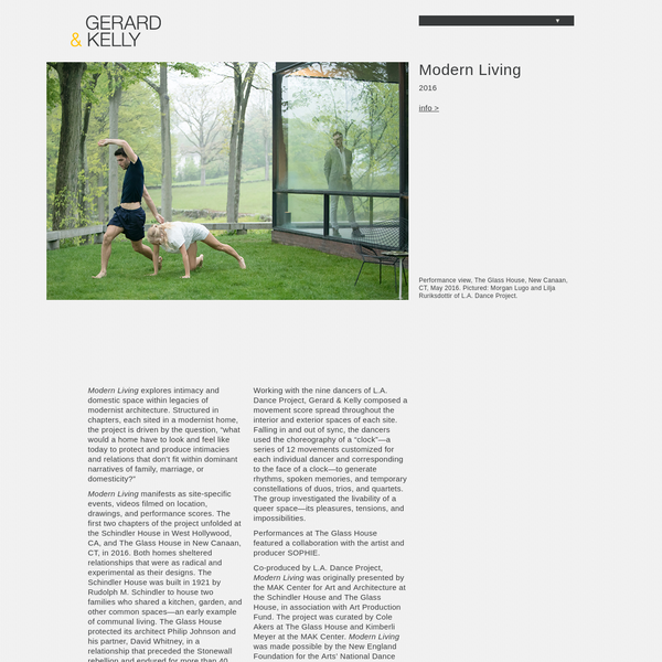 "Modern Living explores intimacy and domestic space within legacies of modernist architecture. Structured in chapters, each sited in a modernist home, the project is driven by the question, ""what would a home have to look and feel like today to protect and produce intimacies and relations that don't fit within dominant narratives of family, marriage, or domesticity?"""