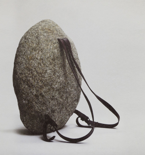 Jana Sterbak (b 1955), 'Sisyphus Sport', 1997, stone, leather straps and metal buckles, 50 x 36 x 25 cm.