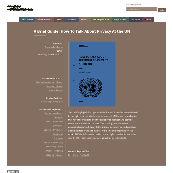 A Brief Guide: How To Talk About Privacy At the UN   Privacy International