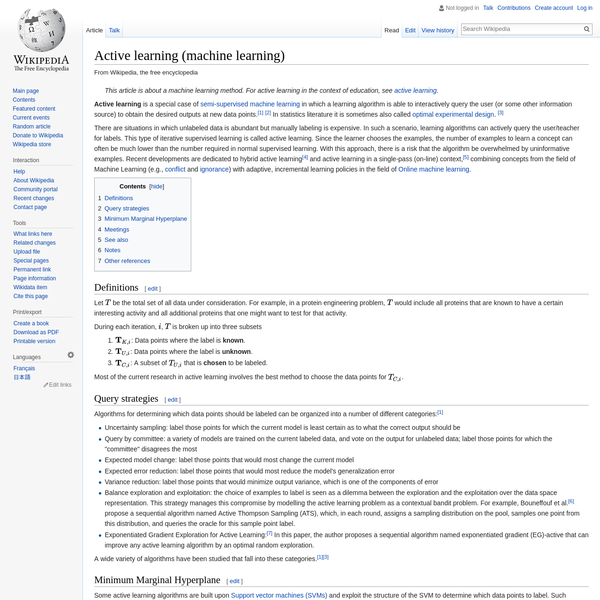 Active learning (machine learning) - Wikipedia