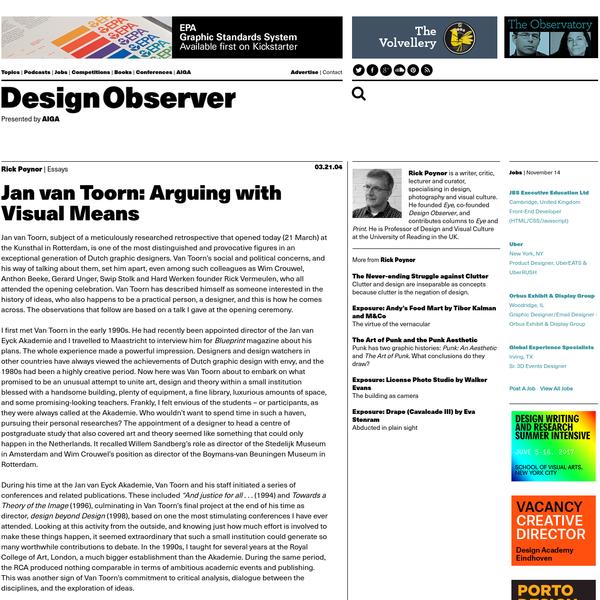 Jan van Toorn: Arguing with Visual Means