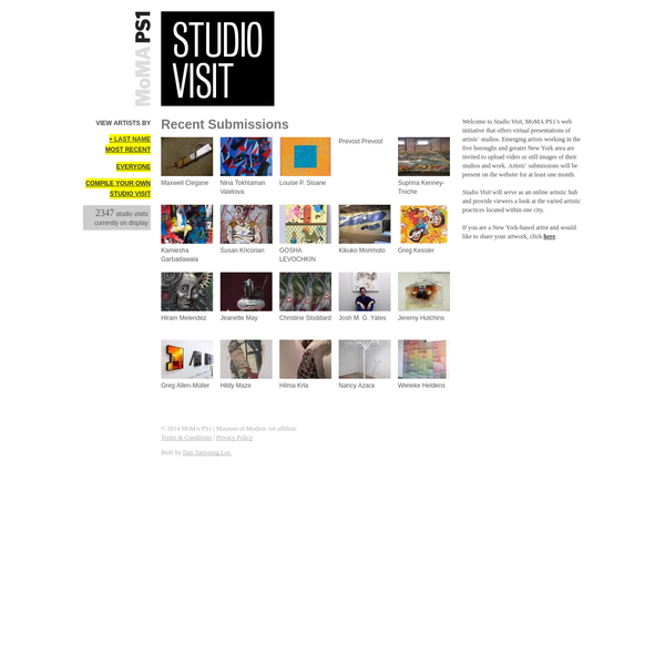 Studio Visit, MoMA PS1's web initiative that offers virtual presentations of artists' studios. Emerging artists working in the five boroughs and greater New York area are invited to upload video or still images of their studios and work.