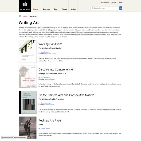 Writing Art   The MIT Press