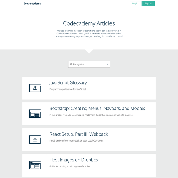 Articles are more in-depth explanations about concepts covered in Codecademy courses. Here you'll learn more about workflows that developers use every day, and take your coding skills to the next level. Articles are more in-depth explanations about concepts covered in Codecademy courses.