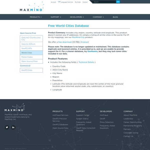 Free World Cities Database | MaxMind