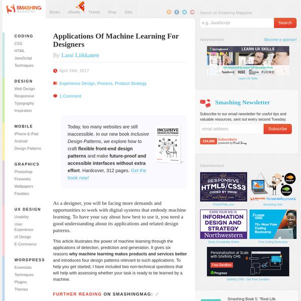 Applications Of Machine Learning For Designers - Smashing Magazine