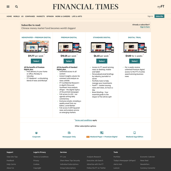 Markets data delayed by at least 15 minutes. © THE FINANCIAL TIMES LTD 2017. FT and 'Financial Times' are trademarks of The Financial Times Ltd. The Financial Times and its journalism are subject to a self-regulation regime under theFT Editorial Code of Practice.