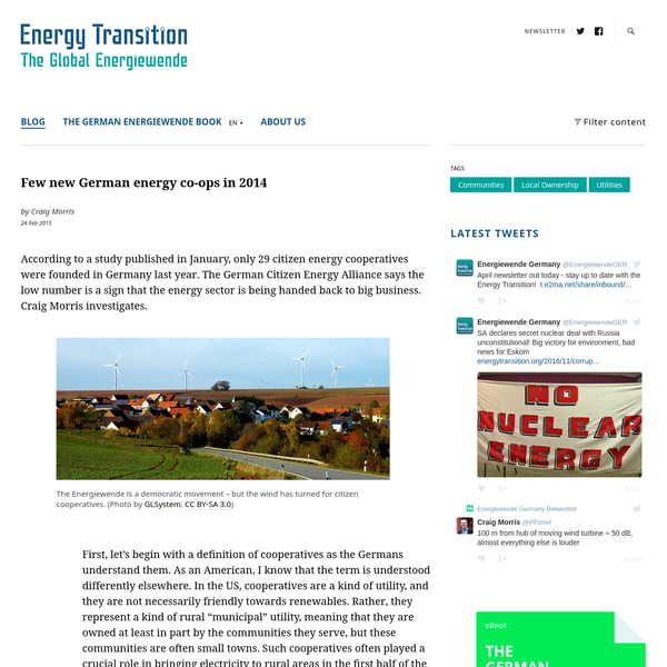 According to a study published in January, only 29 citizen energy cooperatives were founded in Germany last year. The German Citizen Energy Alliance says the low number is a sign that the energy sector is being handed back to big business. Craig Morris investigates.