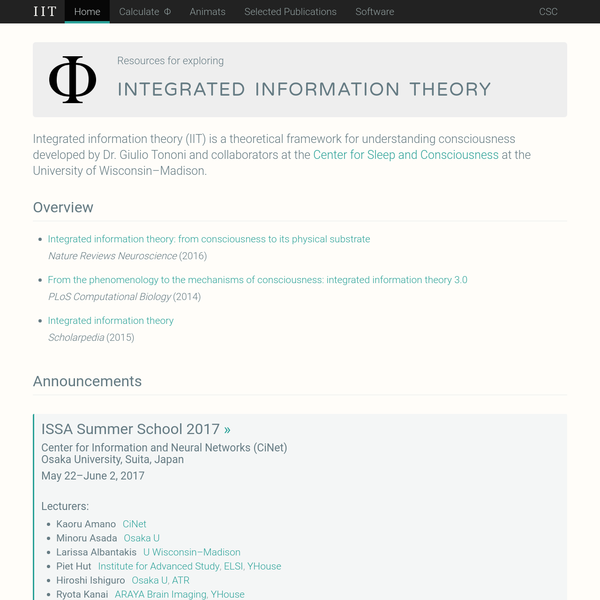 Integrated Information Theory