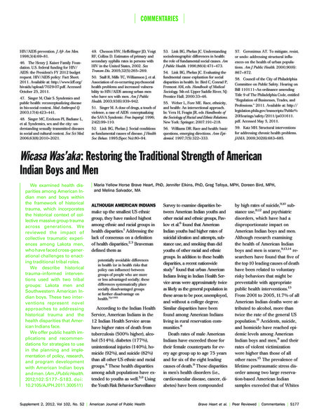 Brave Heart's article explains how a paradigm of historical trauma can be helpful in explicating health disparities as the manifestation of a colonial legacy within Native American communities. Historical trauma incorporates the legacy of mass communal trauma across generations as a central component impacting health outcomes among that population today. In thinking about colonial ecologies, it is important to keep in mind that communities are fundamentally impacted by mass trauma causing an additional psychosocial burden on top of the physical burdens of living in destroyed, polluted, or occupied lands. The impact of historical trauma is another technique and manifestation of necropolitical regimes, as explained by Smith when talking about Black mothers. By inflicting large-scale trauma on a population, those remaining in that community will suffer the psychological effects of that trauma for long to come, exacerbating the oppression and slow-death central to a necropolitical society. The paradigm of historical trauma is helpful in understanding the additional psychological barriers that populations existing within the legacy of colonialism and mass trauma confront.