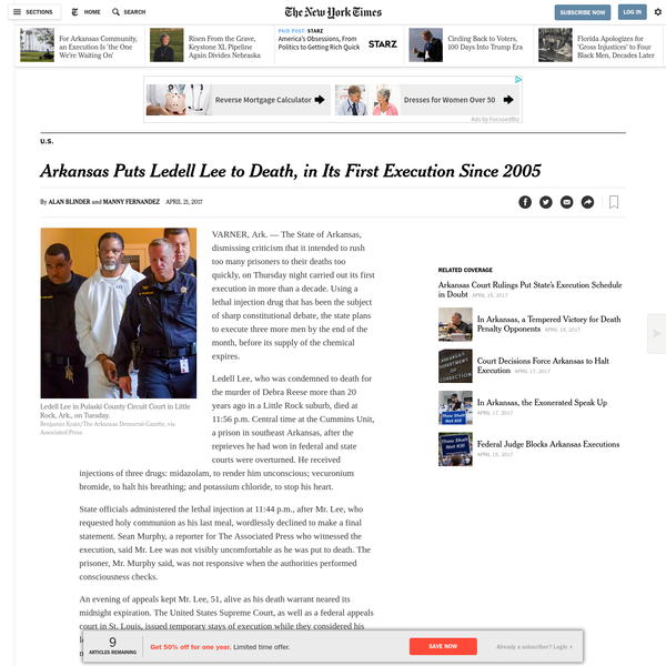 This article reports on Ledell Lee's death, Arkansas' first execution of a prisoner on death row in more than ten years. Arkansas' sudden push over the last few weeks to execute imprisoned people is due to the coming expiration date of one of the drugs used in the execution process. This may be Arkansas' last chance to kill those on death row. The lives of eight people are on the line because of a date. While this date may have scientific credence, it appears arbitrary due to the illegibility of the scientific processes and the pharmaceutical companies that are behind it. No one is quite sure why the drug expires or what will happen if one uses an expired drug, but that very uncertainty is what gives science political power. The influence that drugs and drug companies have in this situation is undeniable and exemplifies the bio/necro-political system in which we live. The same institutions that we rely on to develop life-saving technologies are also responsible for killing us. The state's dependence on pharmaceutical companies illustrates the entrenchment of state-sanctioned murder in a capitalist system of profit, and the interrelatedness between fostering health and imposing death.