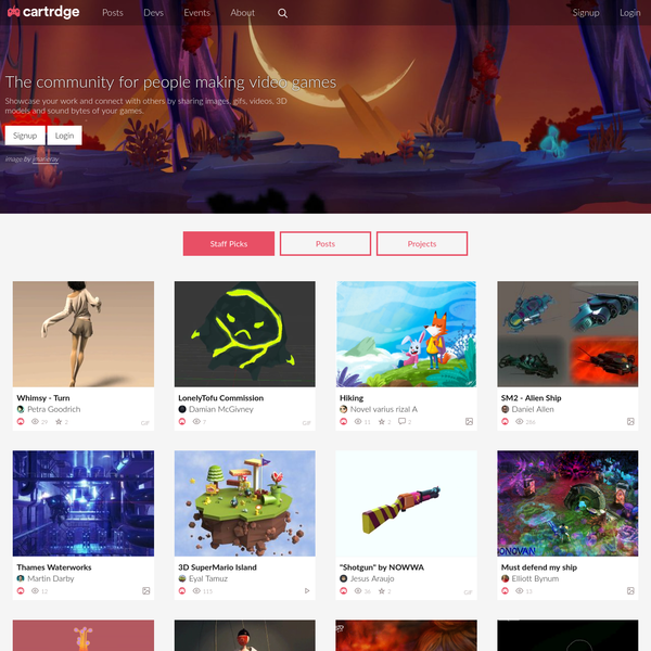 The community for people making video games - Showcase your work and connect with others by sharing images, gifs, videos, 3D models and sound bytes of your games.