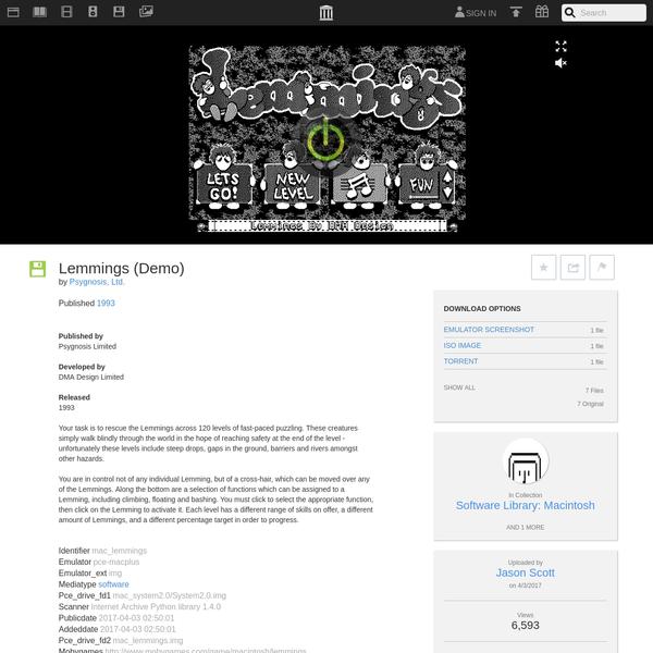 Lemmings (Demo) : Psygnosis, Ltd. : Free Download & Streaming : Internet Archive