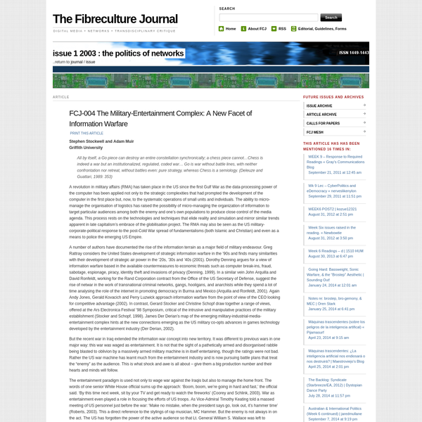 FCJ-004 The Military-Entertainment Complex: A New Facet of Information Warfare | The Fibreculture Journal : 01