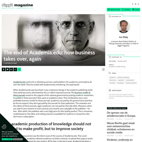 Academia.edu used to be a refreshing and very useful platform for academics and students all over the world. That has ended with academia.edu introducing the 'paid search'. When Academia.edu was launched, it was a welcome change in the academic publishing world. That world was and is dominated by the so-called 'important journal'.